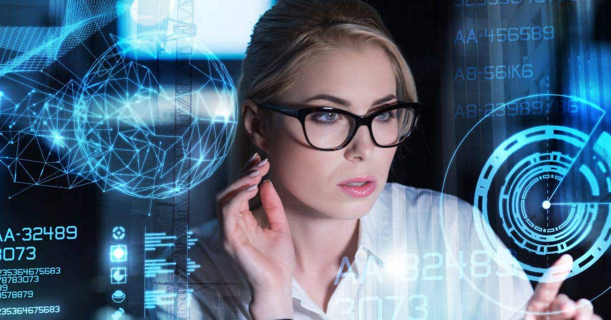 a woman working to manage security risk at an IT company
