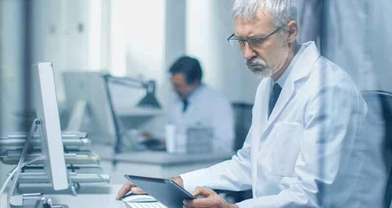 Healthcare security check conducting a HIPAA compliance audit