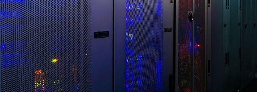 blue doors of a server room