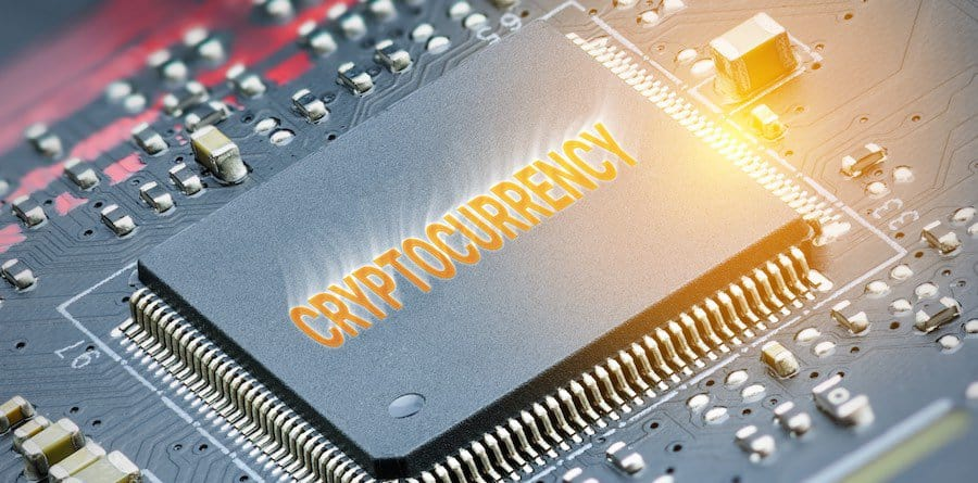 circuitboard that says cryptocurrency