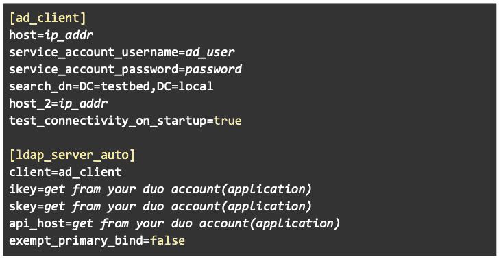 DUO Proxy Configuration