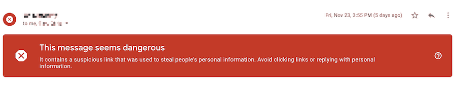 warning in google gmail about potential phishing