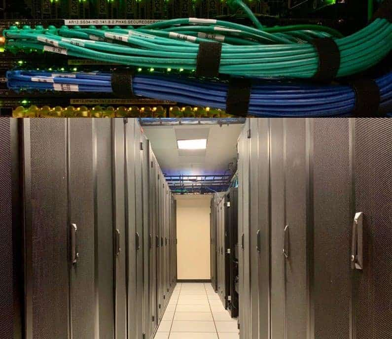 server racks in a hyperscale facility