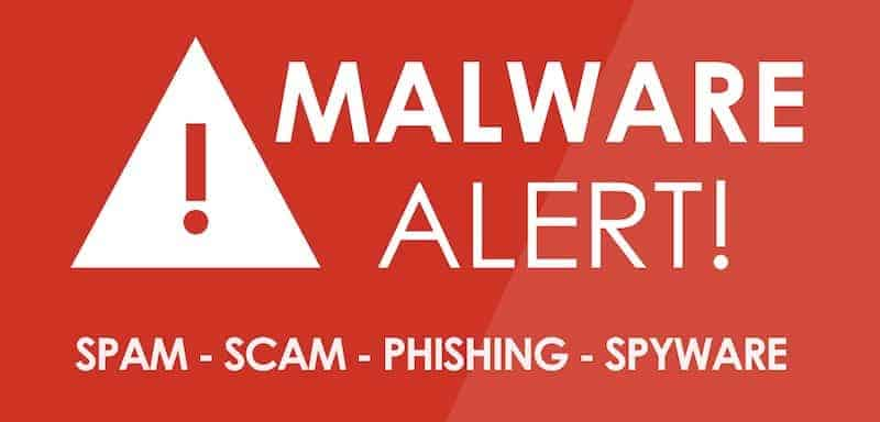 sign that says malware alert with phishing attacks, spyware and scams