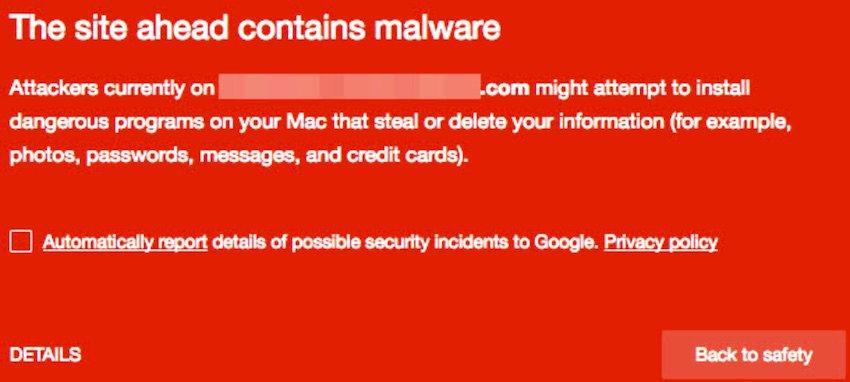 Social Engineering Threats warning of malware