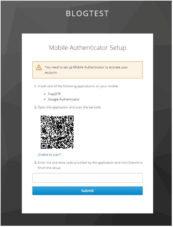 mobile authenticator setup