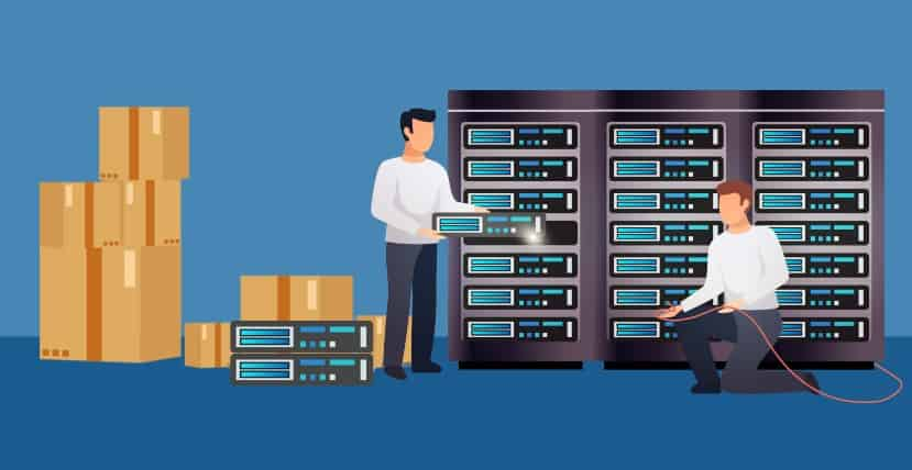 Illustration of setting up on-premise equipment in a server room