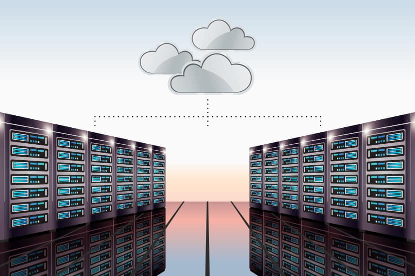 clouds representing servers connected