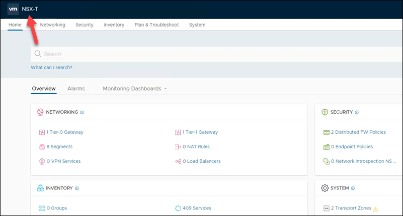 NSX-T Manager interface