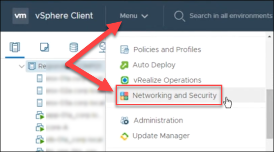 NSX-V UI for networking and security option