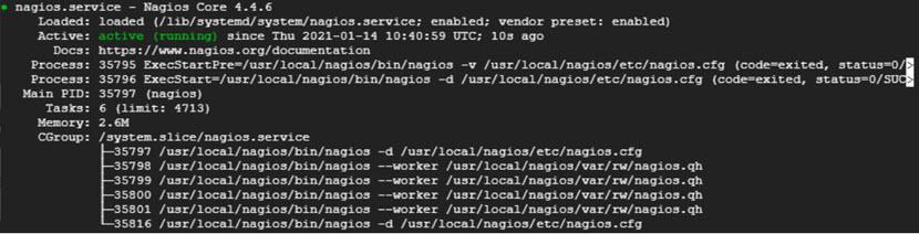Checking Nagios Core status