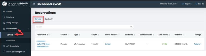 BMC portal server reservations list