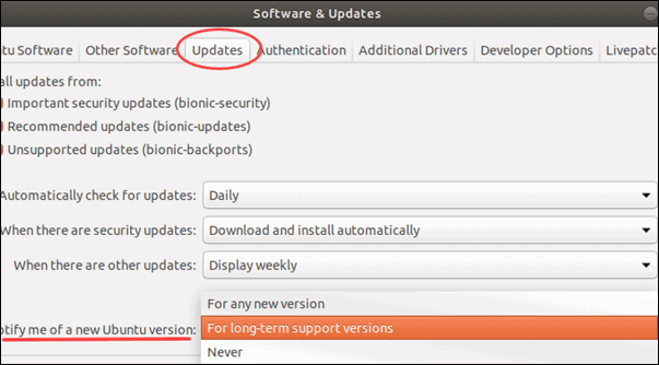 Setting Ubuntu to inform when new stable releases are out.