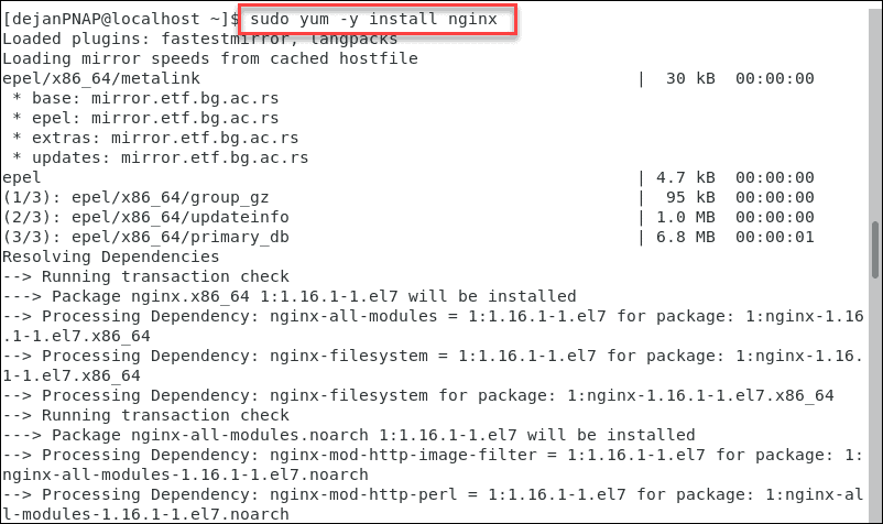 Install Nginx on CentOS via terminal.