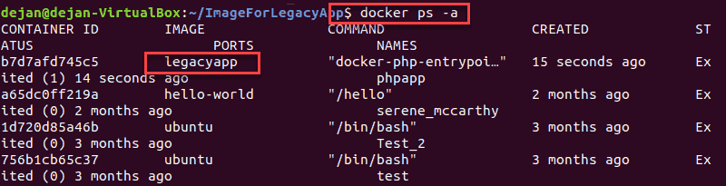 Terminal displaying a list of local Docker images with status