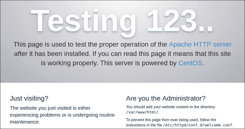 apache http welcome page