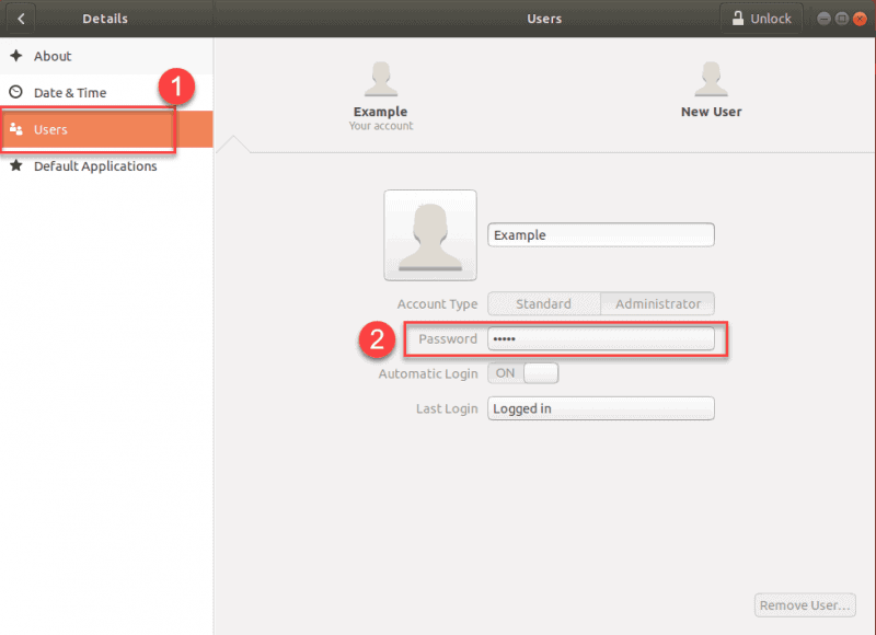 GUI example of Ubuntu users and password
