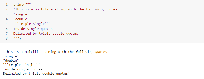 Multiline string with triple double quote delimiters