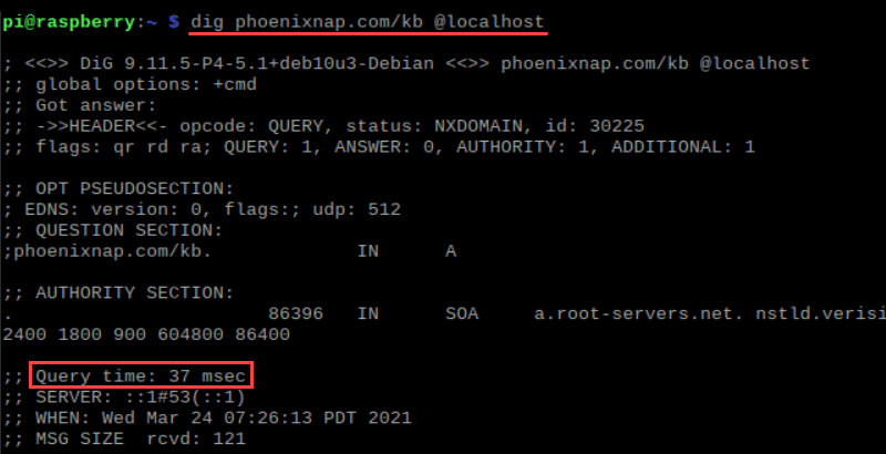 Output of the dig command first time use