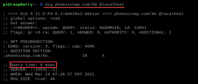 Output of the dig command second time use
