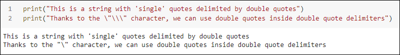 String with double quote delimiters