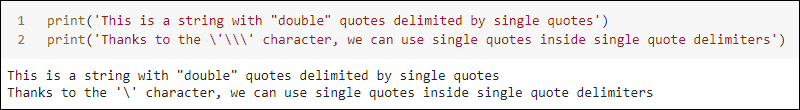 String with single quote delimiters