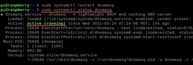 Terminal output of dnsmasq status as active (running)