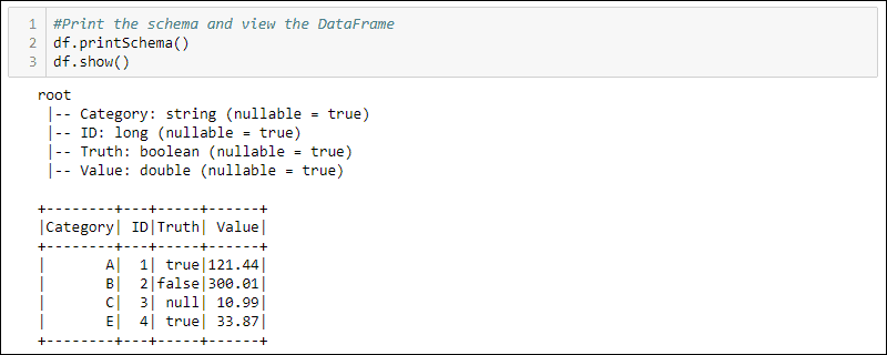 Viewing a DataFrame and schema in Python