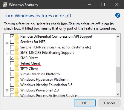 Windows Features list with Telnet Client