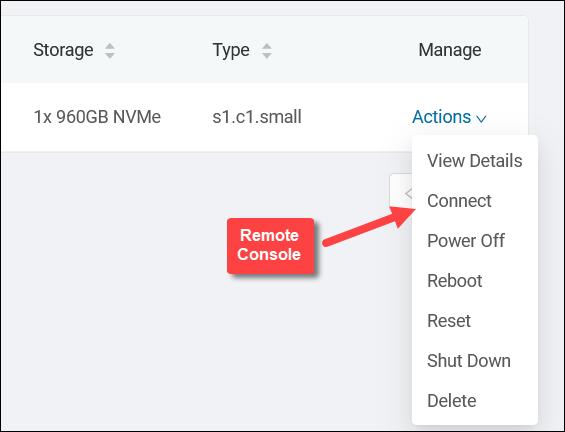 Server actions menu in the BMC portal