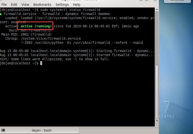 active firewall on CentOS 7