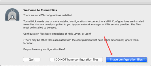 Add configuration files to Tunnelblick.