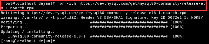 Command to add support for the official MySQL repository