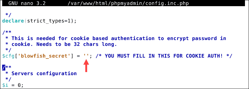Add passphrase to the phpmyadmin config file.