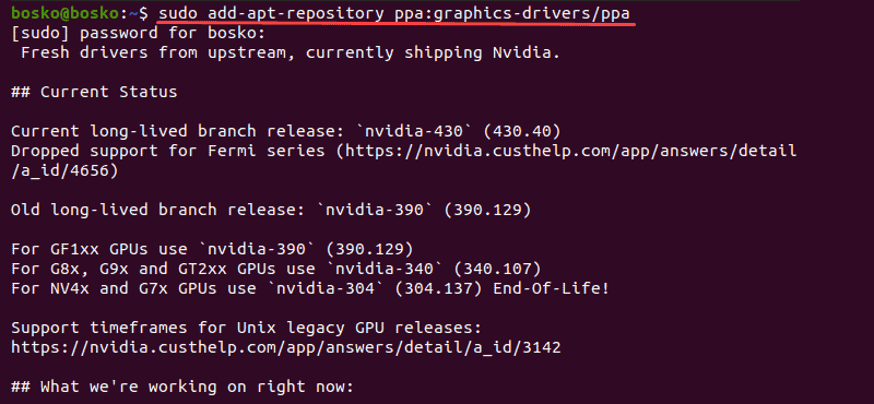 Add the GPU PPA repository to Ubuntu 20.04.