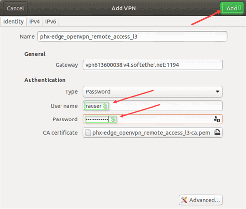 Add VPN for Ubuntu clients.