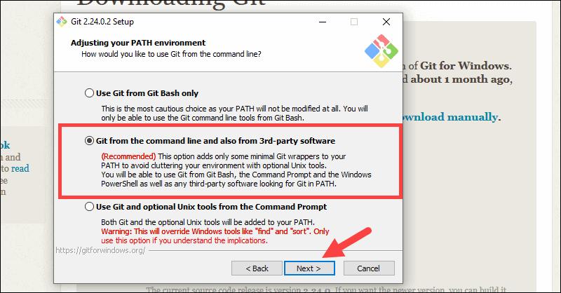 Adjust Git path enviorment