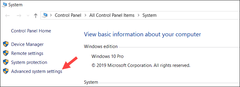 Advanced System Settings option in Windows properties.