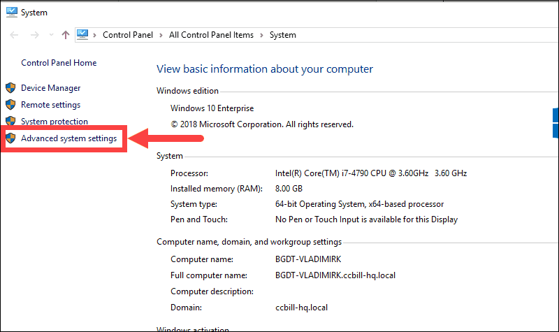 Advanced system settings tab in Mysql