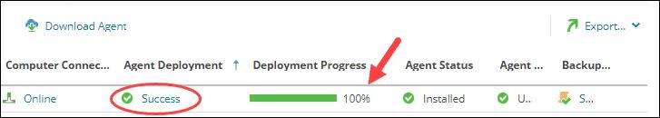 Backup agent installation progress bar