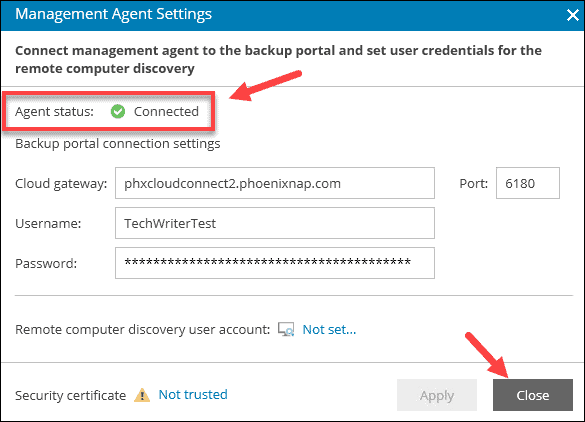 Agent status window showing connected.