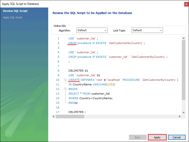 The third step in altering a stored procedure in MySQL Workbench.