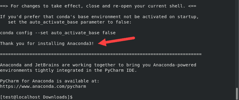 Anaconda installation completed message screenshot