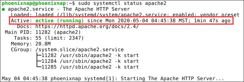 Status of Apache web-server on Debian 10.