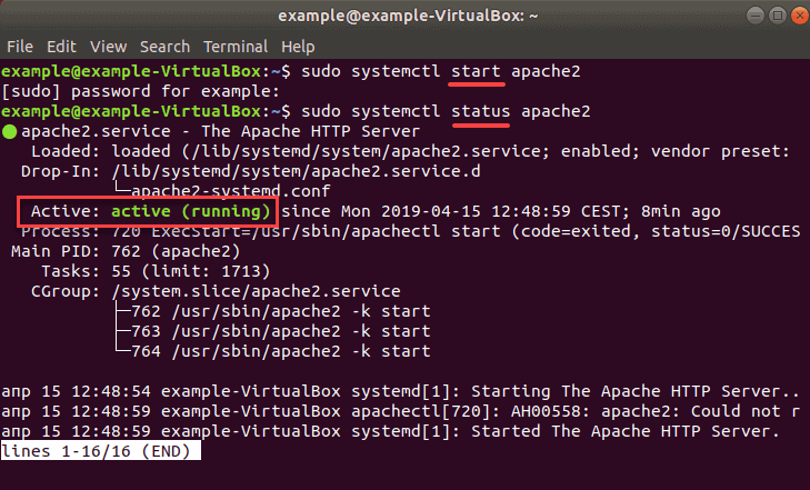 Checking status to see if Apache is enabled