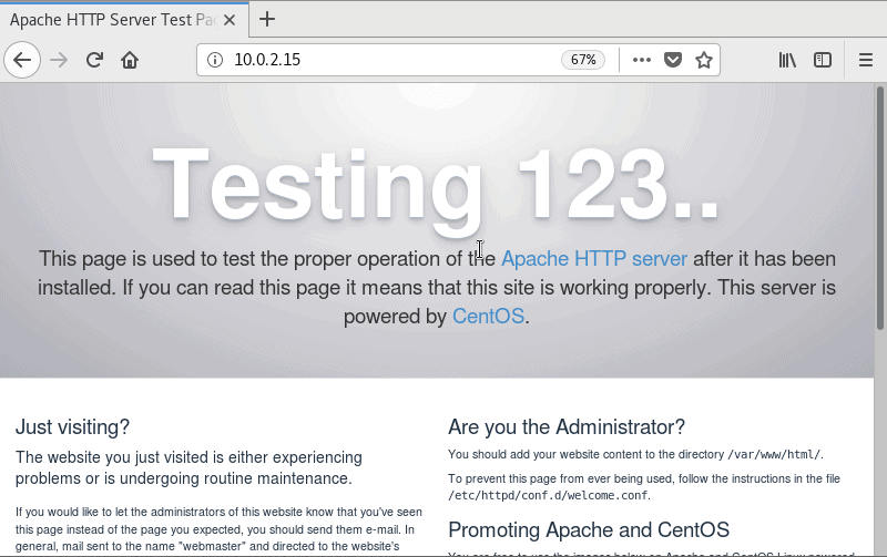 Image of the Apache test page.