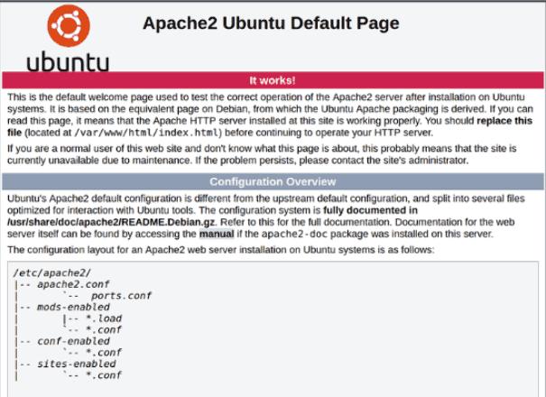 apache2 the default welcome page on ubuntu