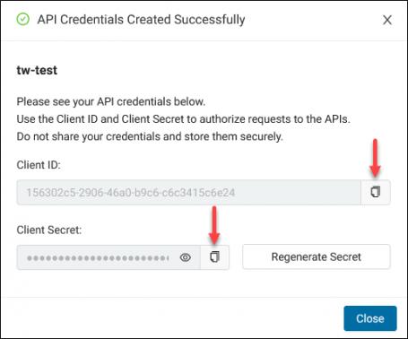 API Credentials client ID and client secret.