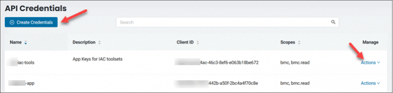 BMC API Credentials page