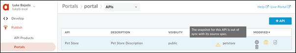 API sreeen of the developer portal.